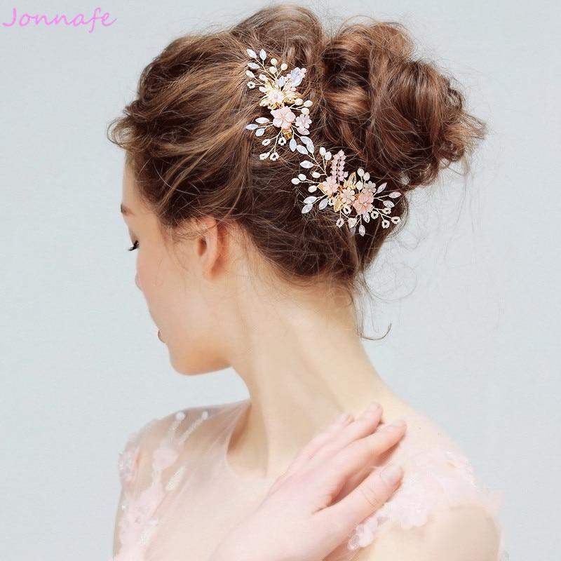 Jonnafe Pink Shell Flower Birdal Hair Clip Accessories Crystal Wedding Jewelry Hair Vine Women Headpiece Handmade flower shaped hair clip