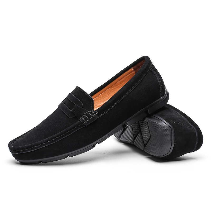 KOZLOV اليدوية جلد الغزال أحذية رجالي عادية فاخرة ماركة حذاء رجالي تنفس أحذية قيادة أحذية الانزلاق الأخفاف الرجال حجم كبير