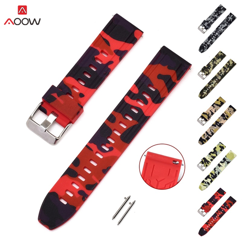 AOOW Generic Watchband For Samsung Gear S2 S3 Huami Amazfit Quick Release Camouflage Rubber Silicone Sport Watch Strap Bracelet