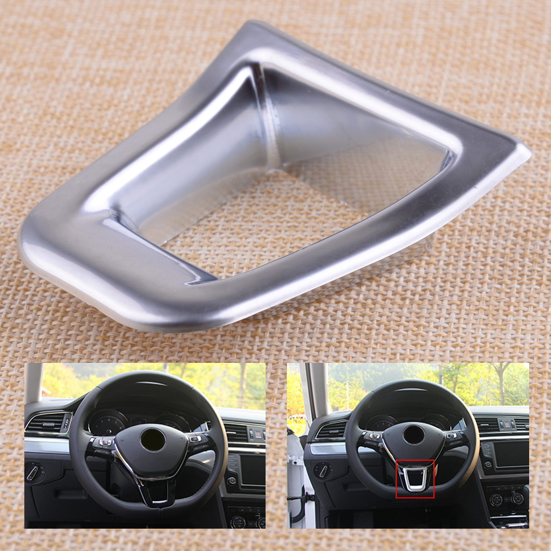 beler Chrome Plated Steering Wheel Trim Cover Sticker Car-accessories Fit for VW GOLF MK7/JETTA MK5 MK6 2015 image