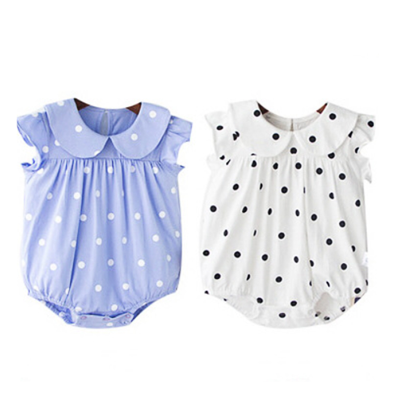 Summer Newborn Baby Girl Rompers Toddler Jumpsuit Short Sleeve Infant Clothing Sets Polka Dot Kids Outfits Baby Girls Clothes cotton baby rompers infant toddler jumpsuit lace collar short sleeve baby girl clothing newborn bebe overall clothes h3