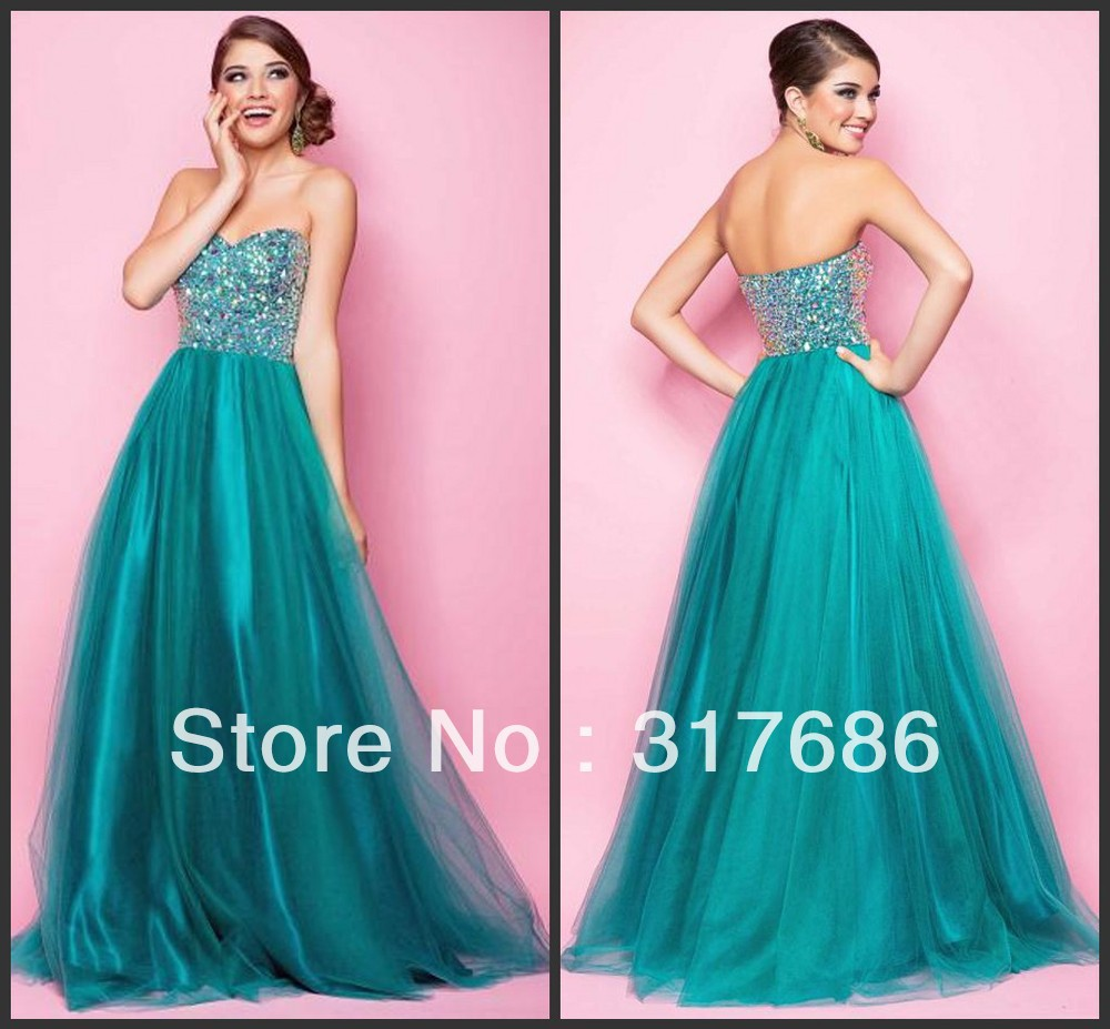 2014 Blush moldeado pesado Sparkel esmeralda tul vestido de fiesta ...