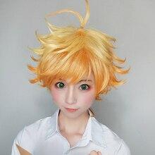 에마 코스프레 가발 애니메이션 야쿠소 쿠노 네버 랜드 여성 오렌지 코스프레 가발 약속 네버 랜드 엠마 코스프레 + 가발 모자