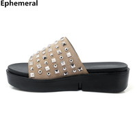 Women cute shoes rivets slippers with platforms thick heel open toe slides summer beach outdoor gold black white plus size 44 34