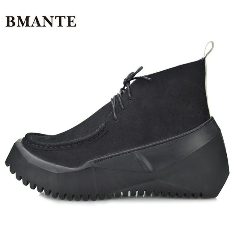 Designer Famous casual brand Male footwear Thick sole Elevator platform shoes black suede Real leather chukka