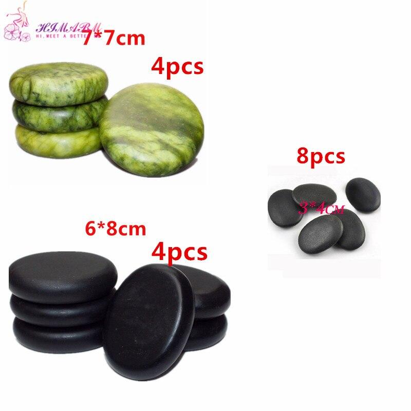 16pcs Natrual hot spa Green Jade and black basalt stone essential oil massage rocks volcanic energy for body