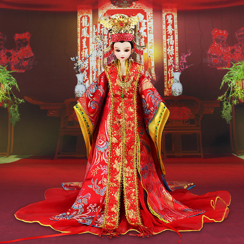 35CM Collectible Chinese Ming Dynasty Bride Dolls Traditional Oriental BJD Dolls With 3D Realistic Eyes Wedding Gifts 35cm collectible chinese dolls ancient costume summer girl dolls with 12 joints movable vintage season series bjd doll toys gift