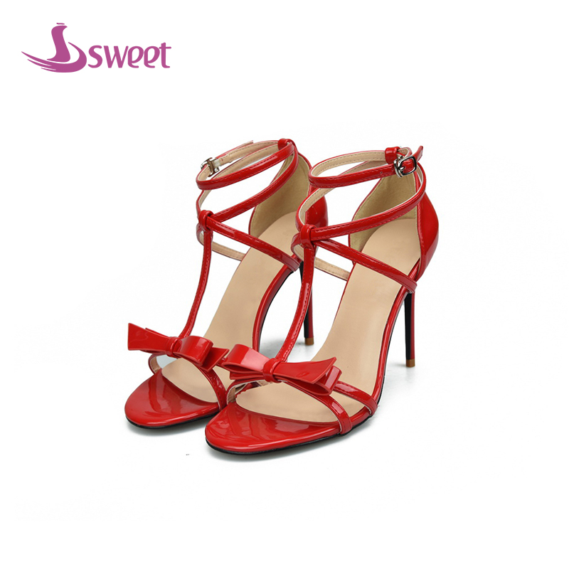 womens shoes woman sandals Cross-Strap Patent Leather Buckle Solid Cover Heel Thin Heels T-Strap Novelty Leisure A91 A