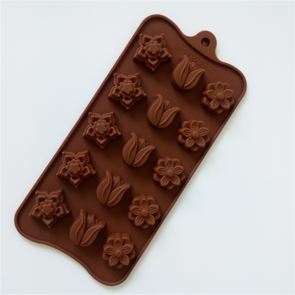 Christmas Items Kitchen Bakeware Supplies Tulip Flower Silicone Chocolate Mold Baking Pastry Tools Silicone Mold For Chocolate