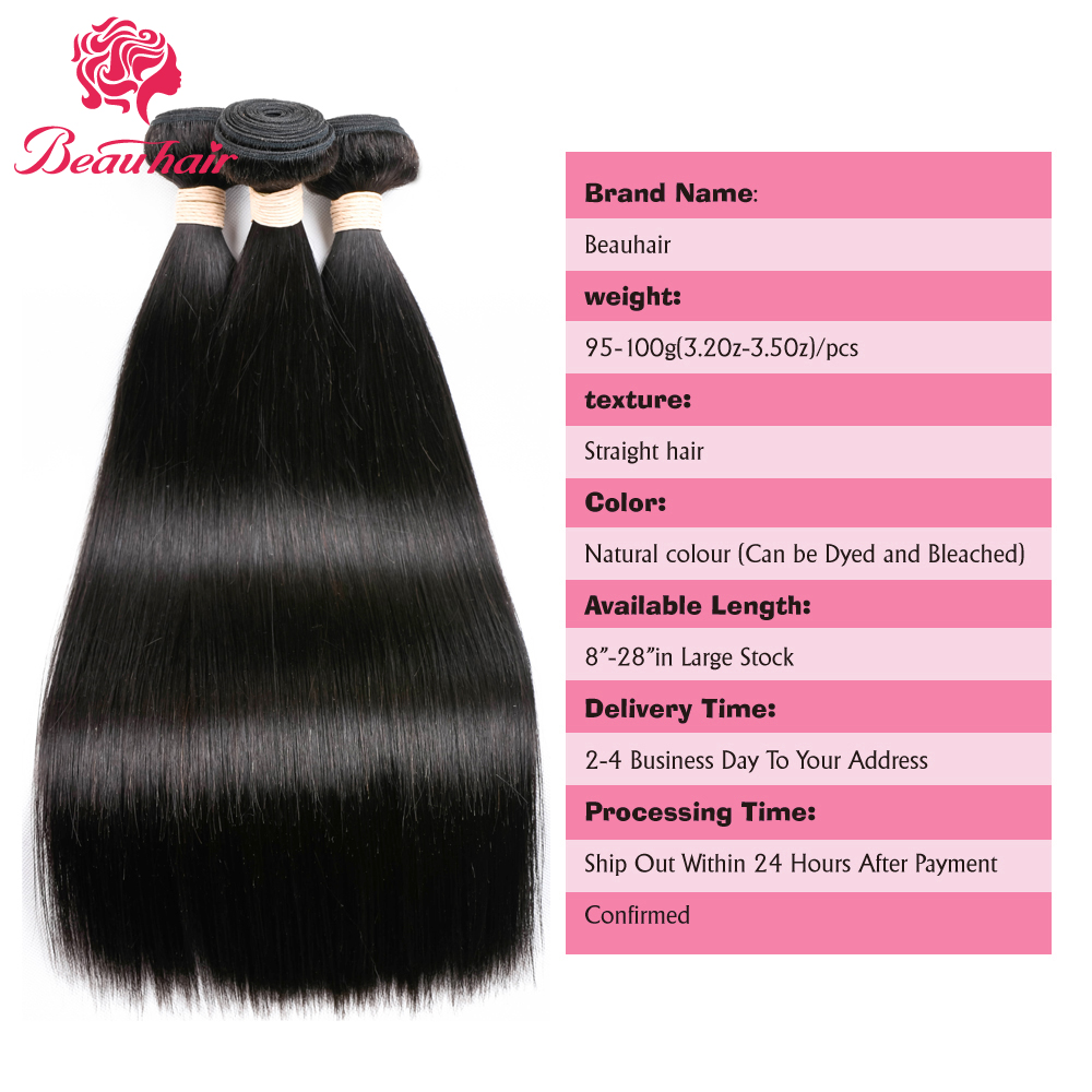 Beau Hair 2 Bundles With Lace Closure Brazilian Straight Human Hair Non Remy 100% Human Hair 2 Bundles With 4*4 Lace Closure