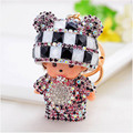 Crystal Rhinestone key chain Monchichi keychain lovely hat Cartoon Doll porte clef keyring gift woman bag charm portachiavi