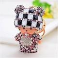 Crystal Rhinestone key chain Monchichi keychain lovely hat Cartoon Doll porte clef keyring gift woman bag charm portachiavi