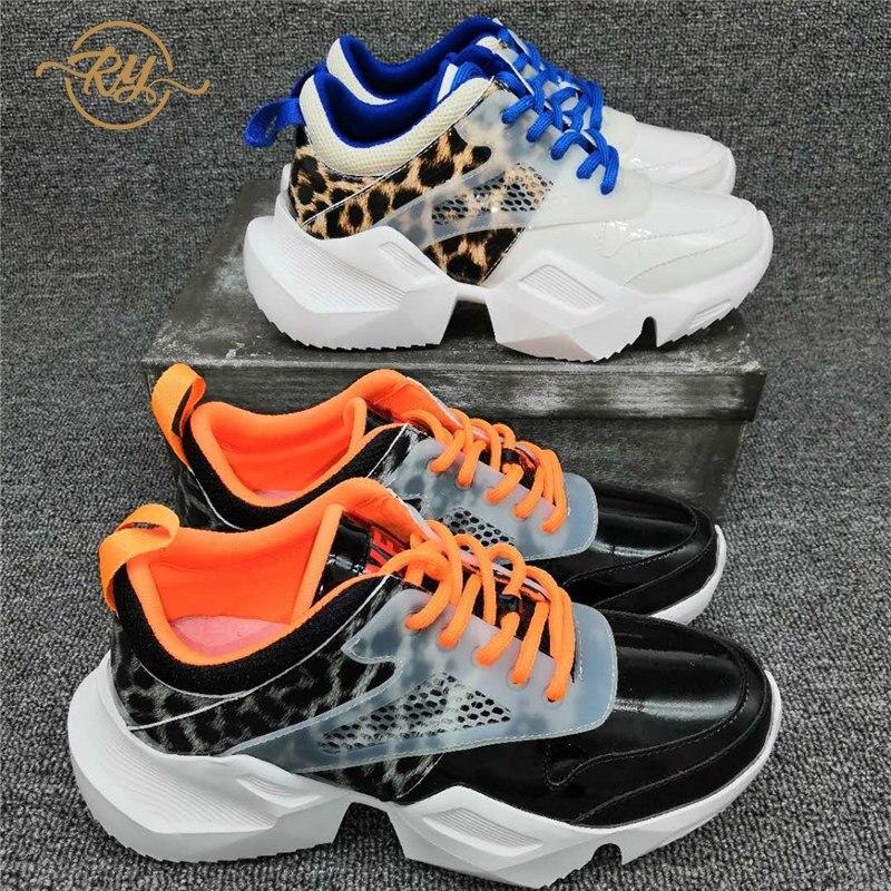 RY-RELAA femmes baskets 2018 mode blanc cassé chaussures femmes chaussures décontractées haut baskets chunky baskets en cuir véritable