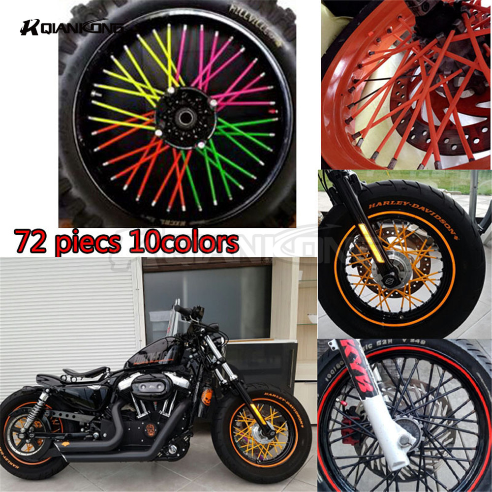 N72 Pcs Motorcycle Dirt Bike Enduro Off Road Wheel Rim Spoke Skins