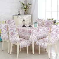9pcs/set European Style Table Cloth Elegant Embroidered Wedding Decor Tablecloth Dining Chair Covers Rectangle Tablecloths Cover