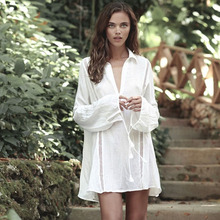 White beach cover up dress Tunic long pareos bikinis Cover ups swimsuit Beachwear T-shirts for women 2019 new