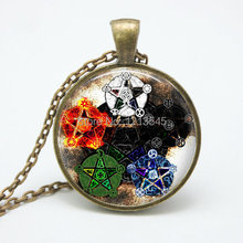 5 pcs stars Wicca Pendant Necklace charms Wiccan Jewelry personality Pentagram glass Occult necklaces pendants FTC-N155