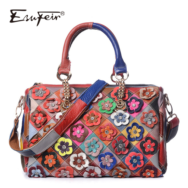 52f547eb7a ESUFEIR Brand Genuine Leather Boston Women Handbag Fashion Diamond Flowers  Shoulder bag Patchwork multicolor Leather Tote bags