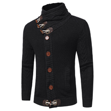 Sweater Pullover Men 2018 Male Brand Casual Slim Sweaters Men Horns Buckle Thick Hedging Turtleneck Men'S Sweater XXL