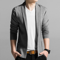 Korean Style Black Grey Blue Mens Spring Autumn Knitwear Cardigan Sweater For Men Roll V Neck