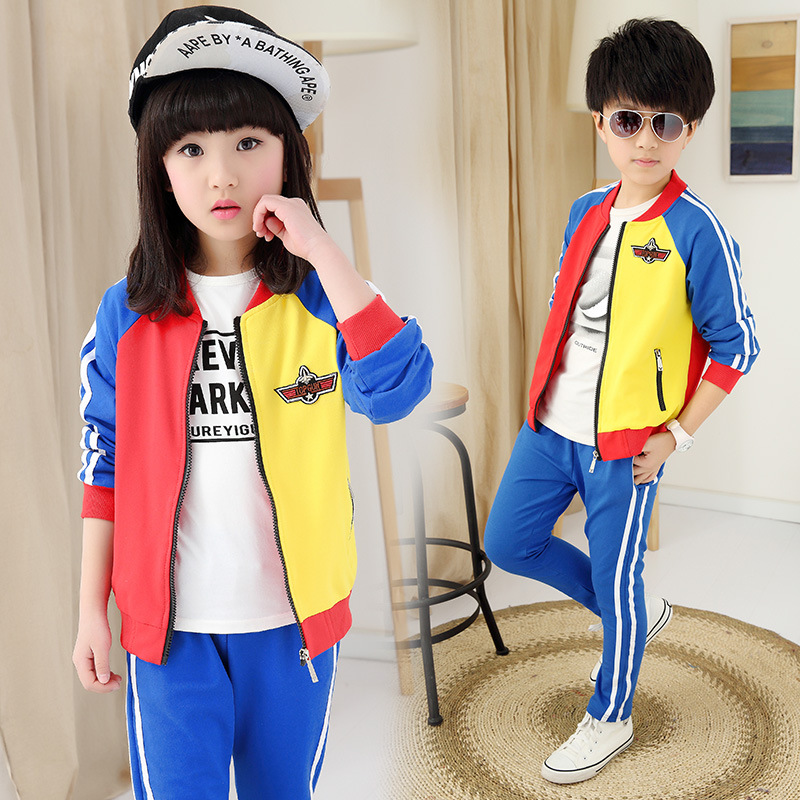 где купить Children 's clothing 2018 new boys and girls long - sleeved school boys and girls jacket + pants two - piece по лучшей цене