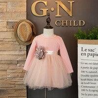 Primavera Roupa das Crianças Crianças Vestido Da Menina Vestido de Princesa com a Flor Grande Laço Cor de rosa preto de 3 a 8 anos velho