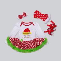 4Pcs Baby Toddler Girls XMAS Romper TUTU Dress Leg Warmer Headband Shoes Set Christmas Theme Oct Amazing