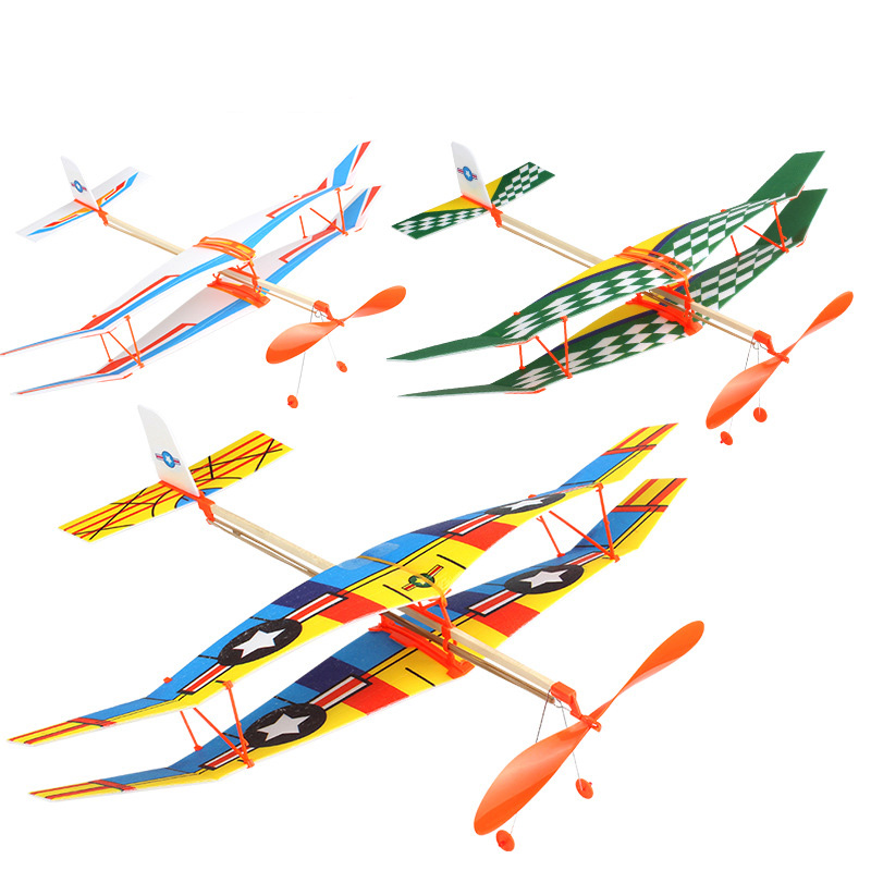 DIY Hand Throw Flying Glider Planes Elastic Rubber Band Powered Flying Airplane Plane Glider Assembly Model Toys For Children image