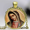 Our Lady of Guadalupe pendant Necklace Virgin Mary Sacred Heart Religious Art Steampunk Bronze chain vintage women Jewelry