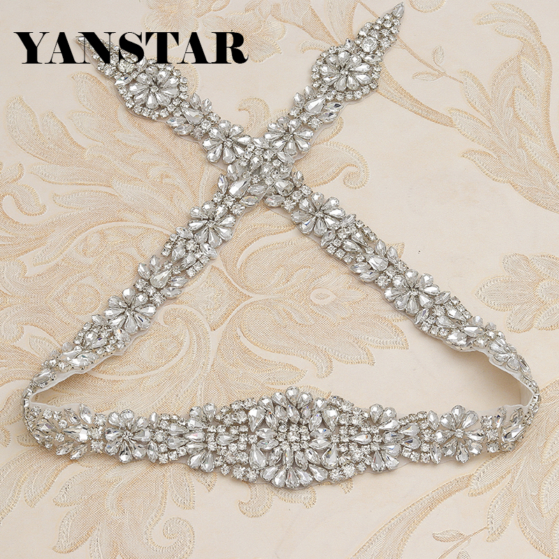 YANSTAR 1 PIEZA Hecho a mano Longitud total Faja nupcial Costura Cristal de oro rosa Apliques de diamantes de imitación para el vestido de novia Cinturón YS854