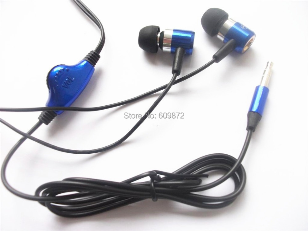 3.5mm Handsfree Earbuds with volume control,  Blue Color , metal earpieces, Stereo MP3 Audio players ,  Singapore free shipping