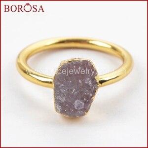 Image 5 - BOROSA צבעים מעורבים אלגנטיים זהב צבע קשת צורה חופשית Druzy טבעות לנשים, אופנה טבעות מפלגה תכשיטי Drusy כמתנה G1450