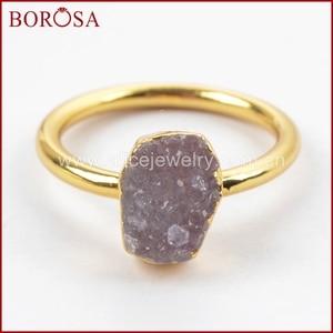 Image 5 - Borosa 우아한 혼합 된 색상 골드 컬러 freeform 레인 보우 druzy 반지 여성, 패션 drusy 쥬얼리 파티 반지 선물 g1450