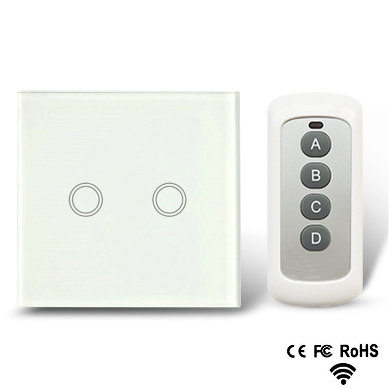 AODU Remote Control Switch 2 gang 1 Way, White, Crystal Glass Switch Panel, Remote Wall Touch Switch + Led Indicator free shipping white crystal glass switch panel 12v touch switch interruptor 2 gang 2 way remote control wall switch for lamps