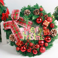 Special Design Christmas Large Wreath Door Wall Christmas Ornament Garland Decoration Red Bowknot Xmas Decoration Kerst
