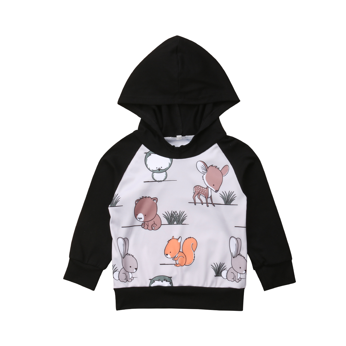 Lovely Newborn Baby Girl Toddler Warm Cotton Hooded SweatshirtsTop Casual Pullover Animal Print Autumn Hoodies Clothes