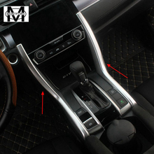 MONTFORD Car ABS Matte Gear Cover Shift Panel Trim Console Cup Drink Holer Bezel 2Pcs For Honda Civic 10th 4Door Sedan 2016 2017