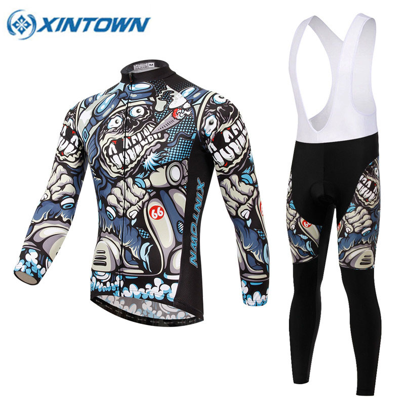 Skeleton Winter Thermal Cycling Clothing 2018 Men Women Fleece Jersey Bike  Bicycle Suits Cycling Kit 7. sku  32904373532 18cd061e2