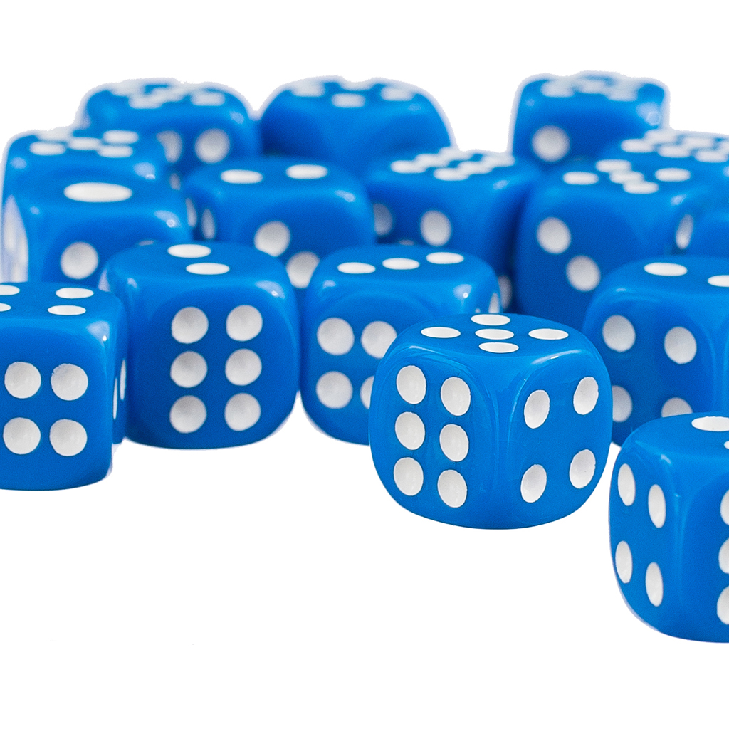 50Pcs of Blue Opaque Dice - Six Sided Spot Dice Size 12mm - D6 RPG D&D Wargaming Party Game Toy