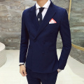 2017 Fall men's suits Retro fashion Slim double-breasted woolen suit jacket High quality men's business casual Blazers XZ67