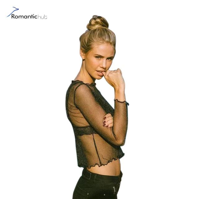 9ef7b9545ccf10 2017 New Women Blouse Glitter Sheer Mesh Shirt Long Sleeve Casual  Transparention Perspective Female Top Sexy Shine Basic shirt