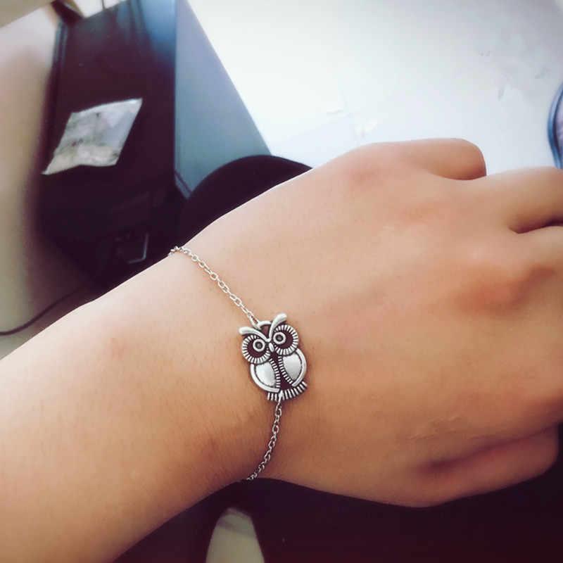Urok bransoletki dla mężczyzn Retro biżuteria damska żony Peace Link bransoletka serce sowa bransoletki i łańcuszki na rękę prezent na Walentynki