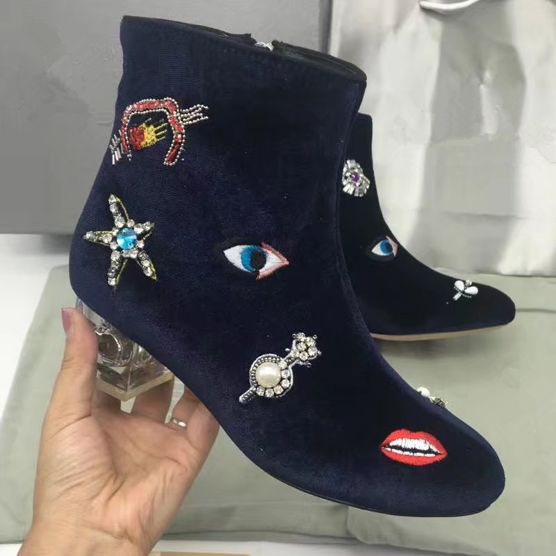 Round Toe Colorful Crystal Embellished Embroider Women Ankle Boots Transparent Heel Side Zip Low Heel Short Booties Luxury Brand fall low heel black side zip boots ankle metal booties short flat 2017 shoes ladies round toe female fashion new chinese