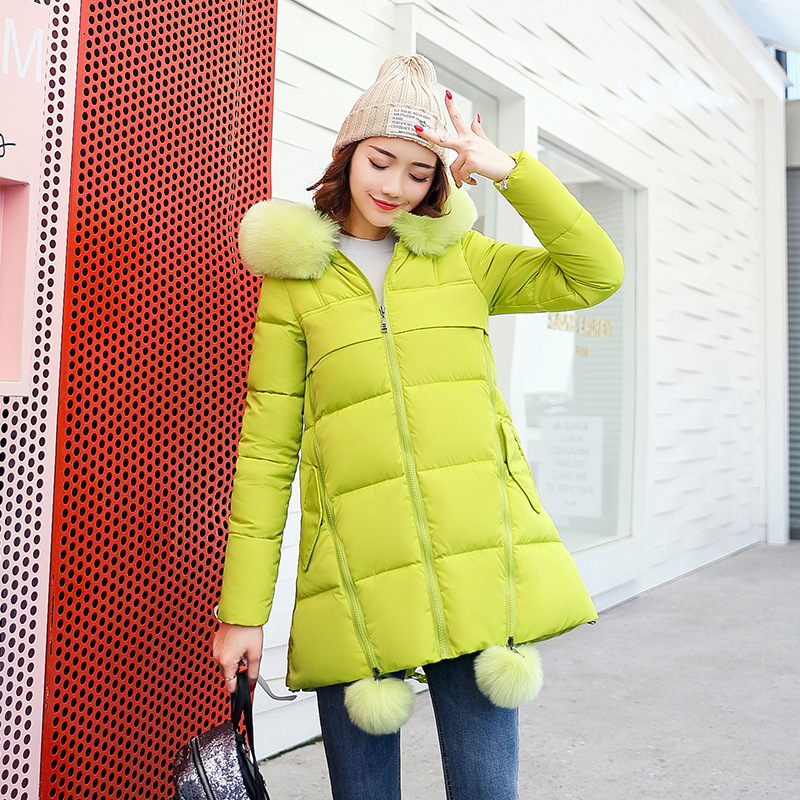 2017 NEW Winter Long Cotton Padded Women Fur Collar Coat Star Wadded Solid Jacket Warm Outerwear Parkas Plus Size 3XL 70805 colosseo 70805 4c celina