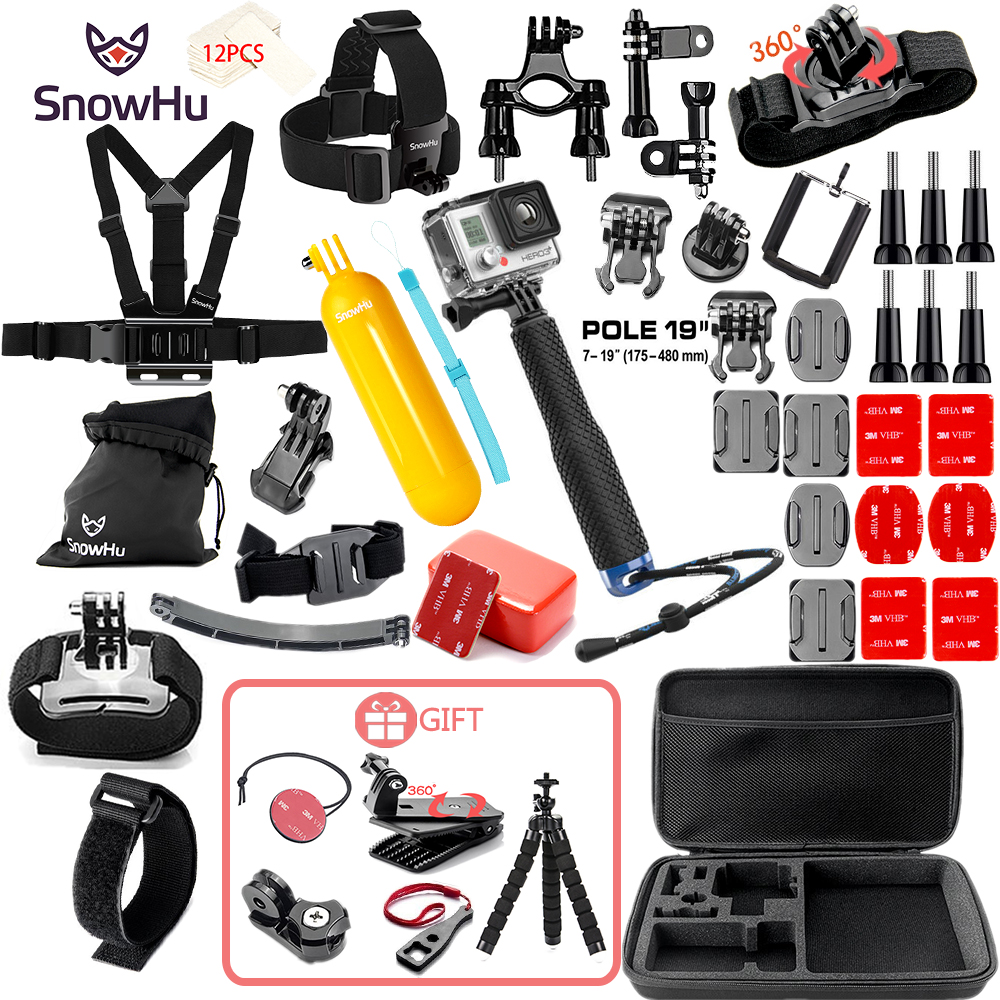 цена SnowHu for Gopro Accessories set for go pro hero 7 6 5 4 3 kit mount for SJCAM SJ4000 for xiaomi yi camera for xiomi tripod GS21