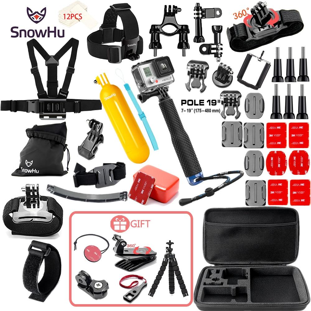 SnowHu para Gopro accesorios set para go pro hero 7 6 5 4 3 kit montaje para SJCAM SJ4000 para xiaomi yi cámara para xiaomi trípode GS21