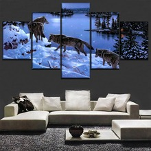In Winter Snow Lakeside Poster 5 Pieces Animal Wolf Painting Modern Home Decor Wall Art Modular Framework Picture For Bedroom