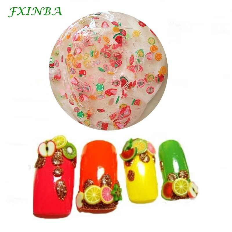 FXINBA 10pcs/lot Fimo Fruit Slices For Slime Supplies/Nails Art Tips Clay Artificial Fruit Slices Sticks Slimes Toys Lizun DIY