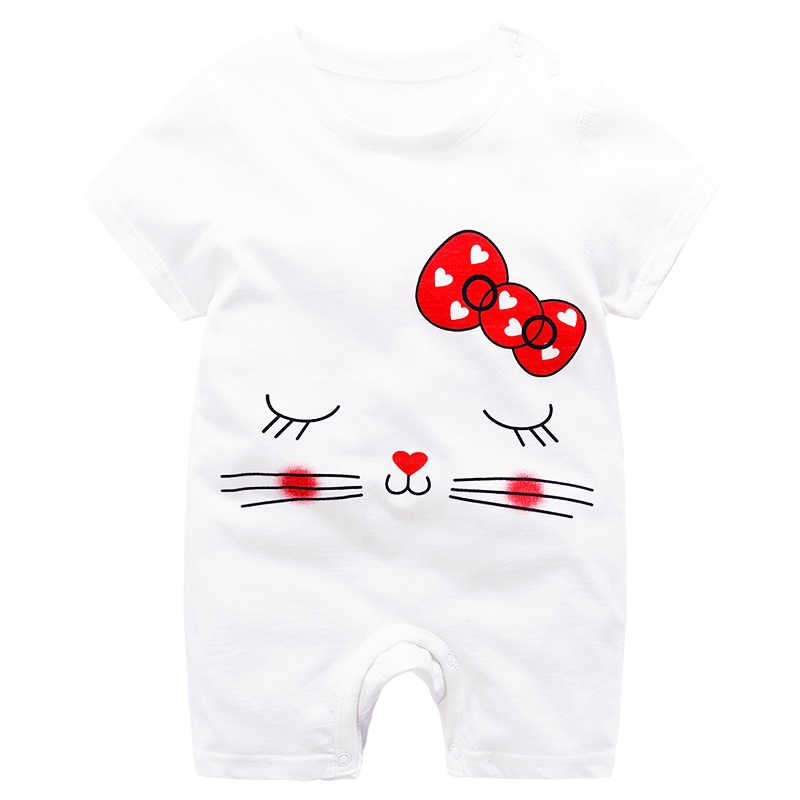 Brand Designer Baby Girl Clothing   Rompers   Hello Kittty 100%cotoon Costumes Summer Clothes For New Born Girls