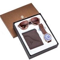 Men's Watch Gifts Set Sunglasses Leather Wallet Watch Set Father Valentine's Day Gift Quartz Wrist Watch relogio masculino reloj